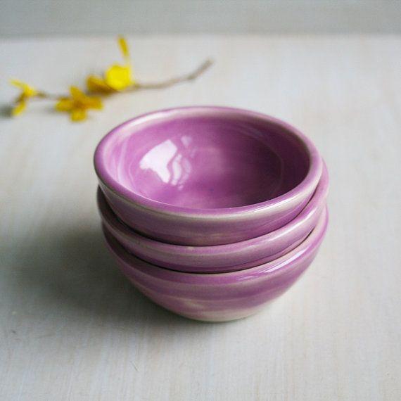 Prep Bowls Set Of Three Ceramic Raspberry Glazed Kitchen Prep Bowls   Pink  Purple Small Bowls
