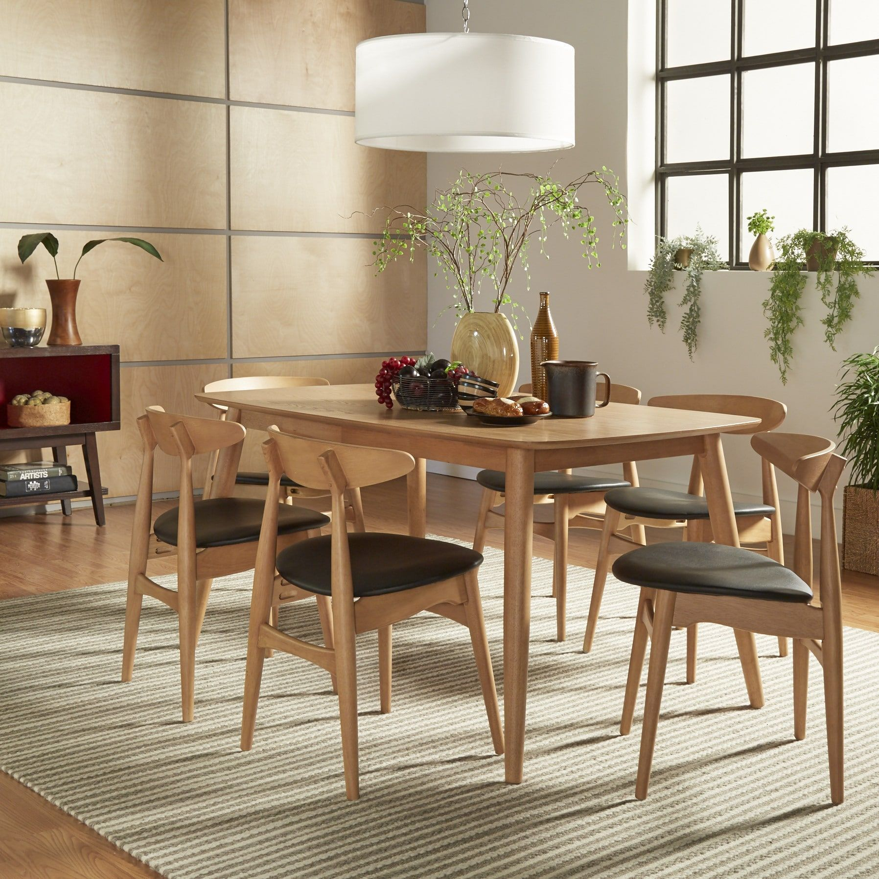 Norwegian Danish Modern Oak Tapered Dining Set iNSPIRE Q Modern ([7PC- 59  table]-Beige Fabric with 6 chairs), Brown, Size 7-Piece Sets