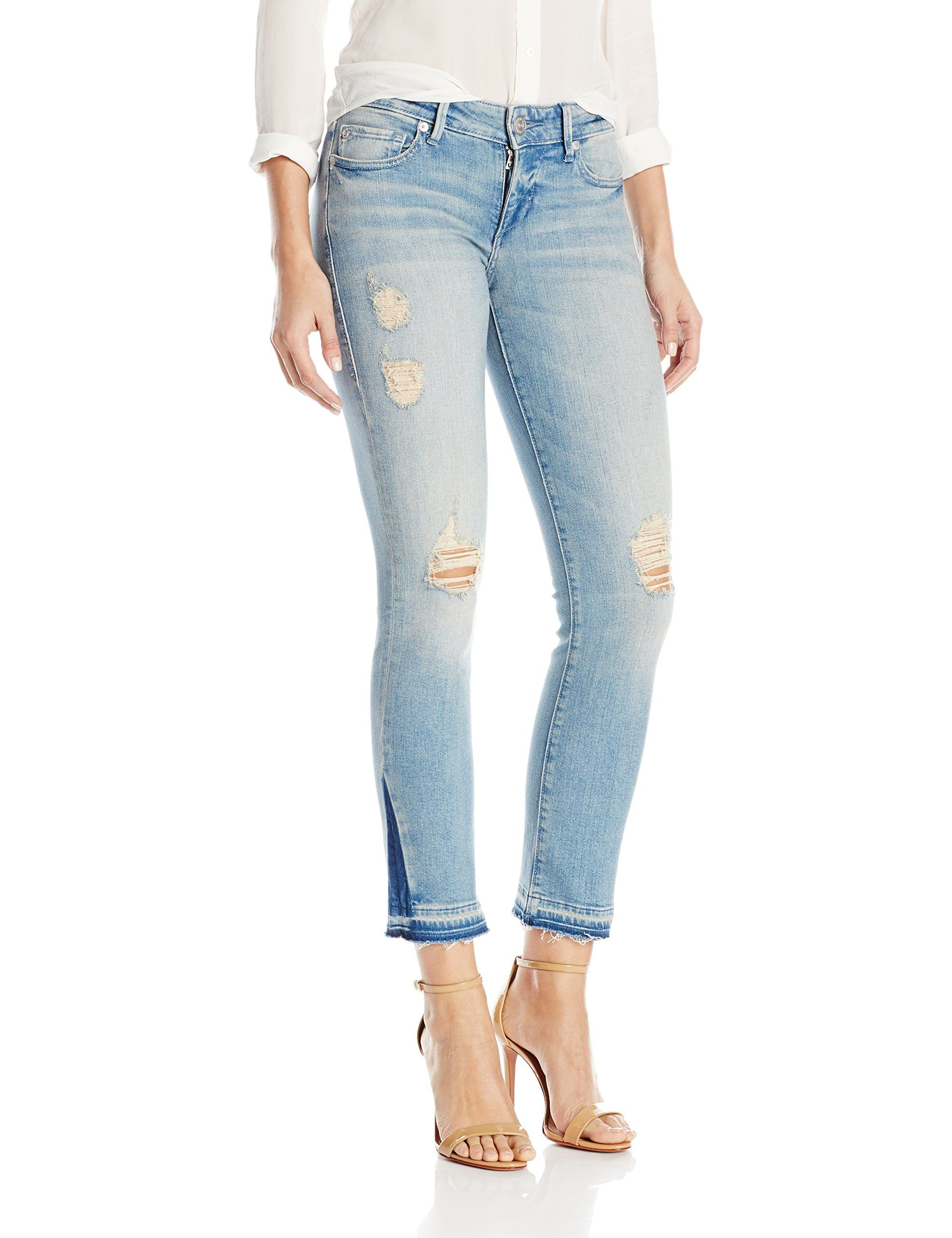 ee06831c1 True Religion Womens Cora Mid Rise Straight Crop Jean Blue Dream Destroyed  29 -- Click image for more details.(It is Amazon affiliate link)   ...