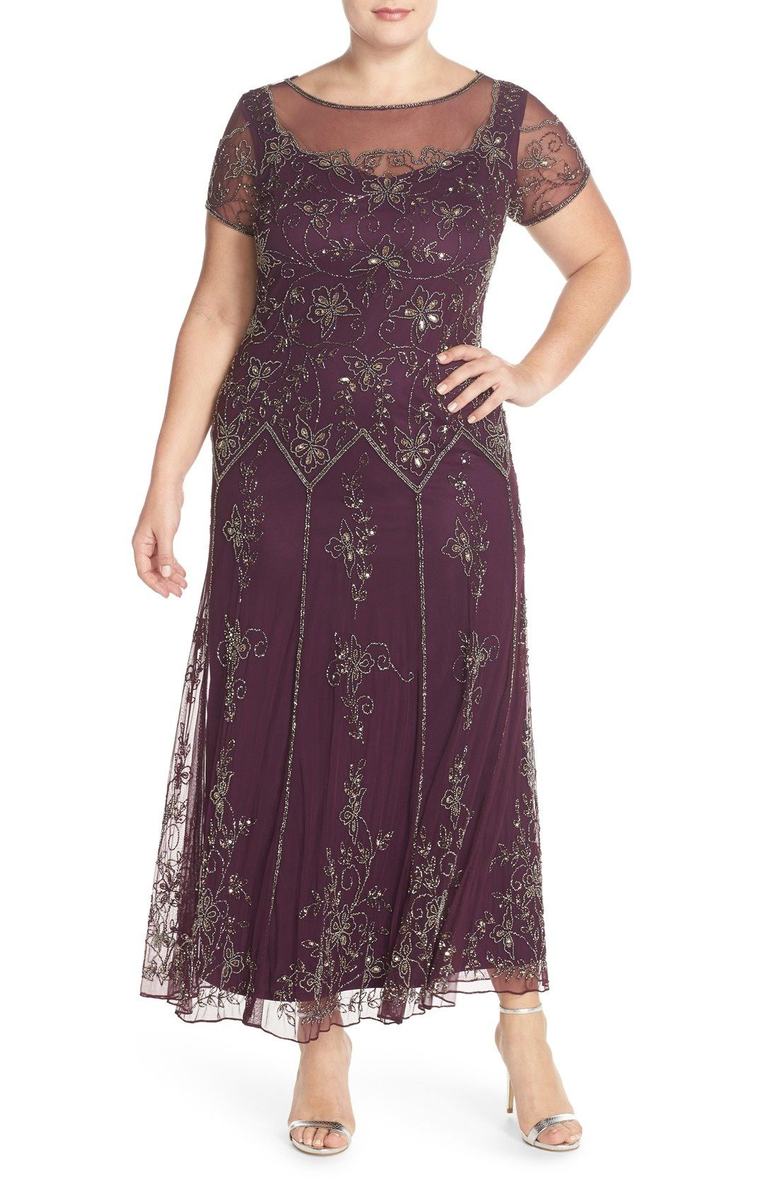 Pisarro Nights Illusion Neck Beaded A-Line Gown (Plus Size ...