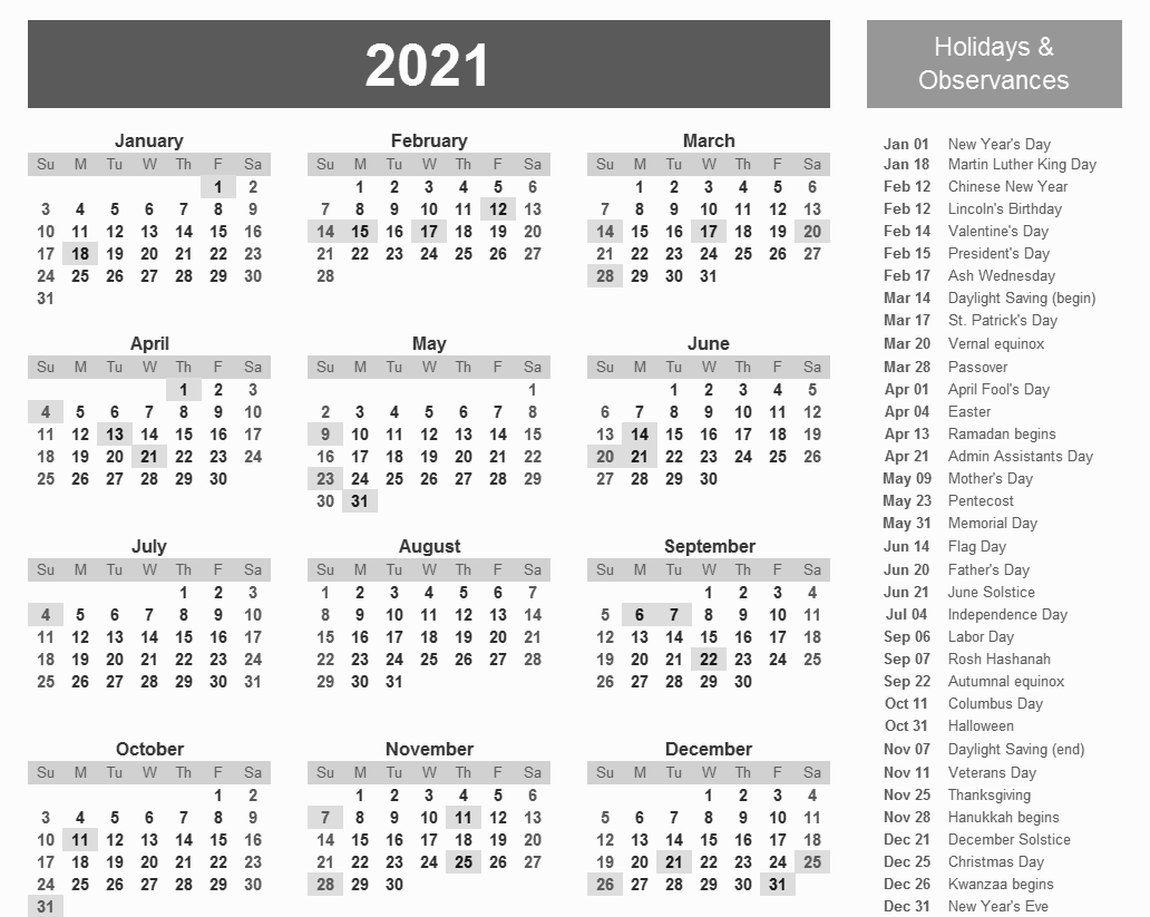 Printable 2021 Calendar With Holidays In 2020 Holiday Calendar Printable 2021 Calendar Holiday Words
