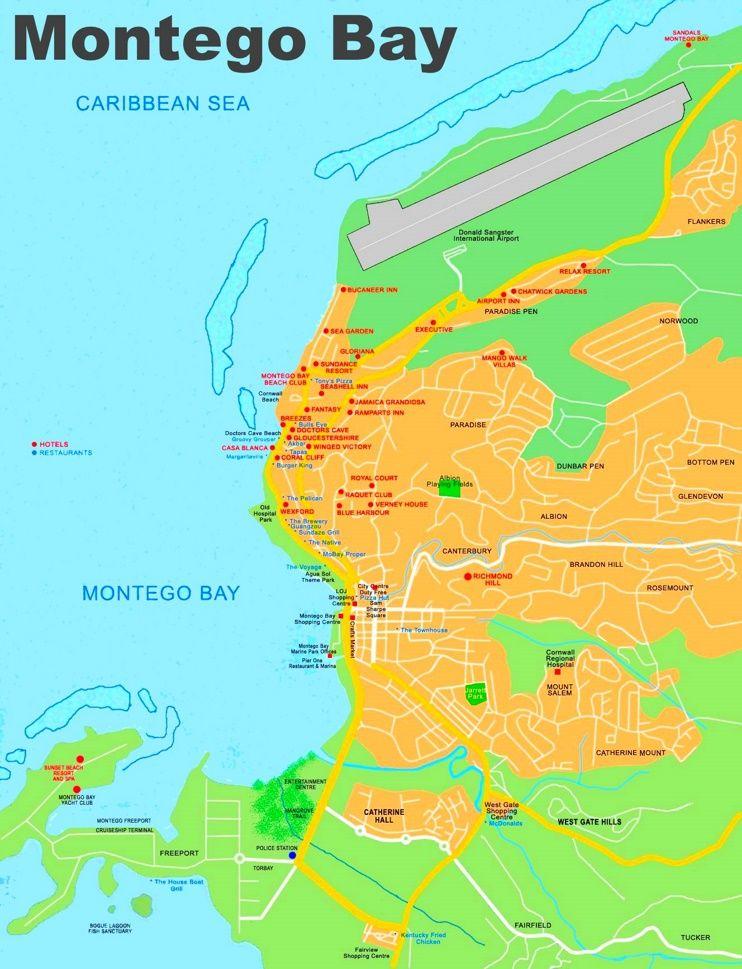 Montego Bay hotel map Maps Pinterest Montego bay and City