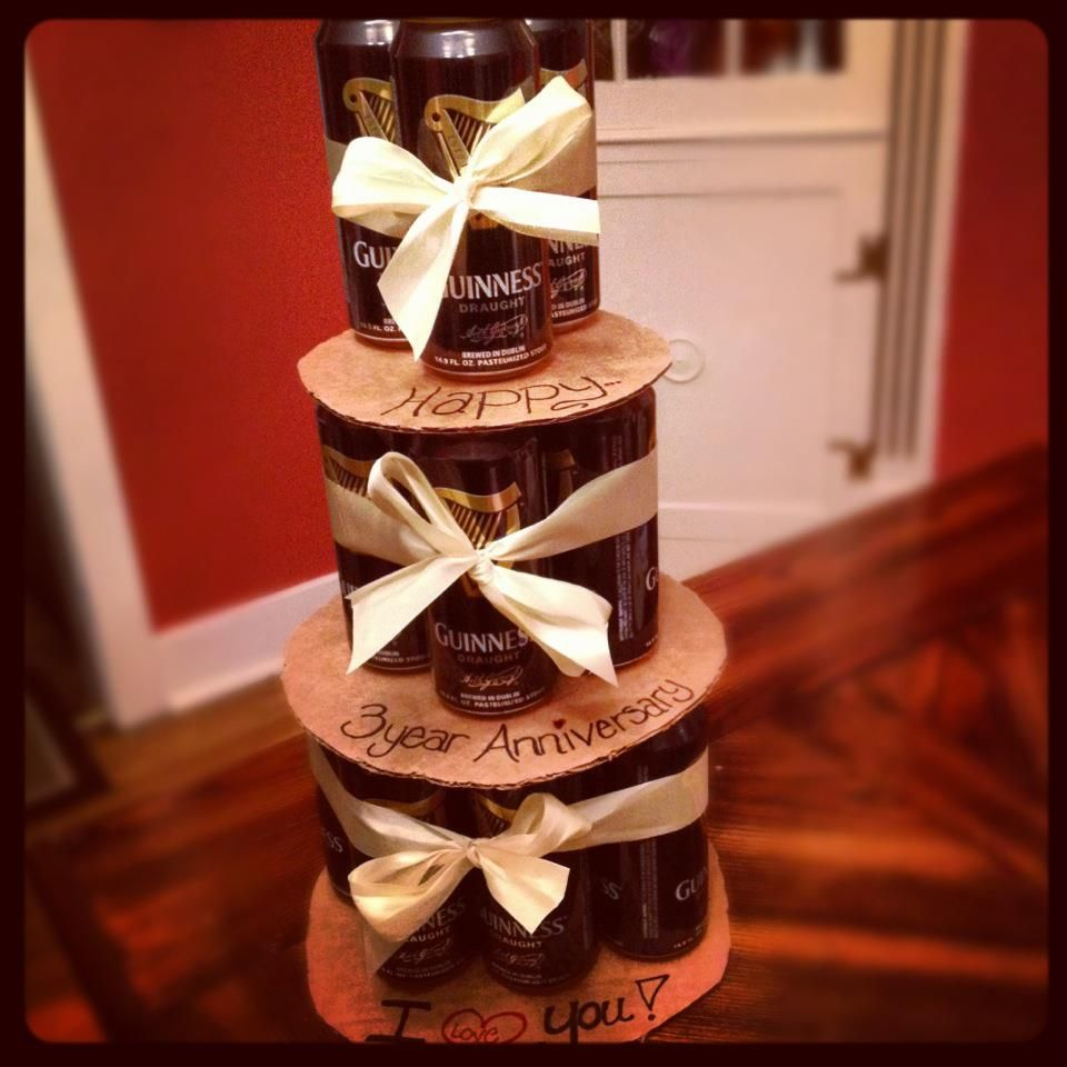 Gift for hubby by @K T !!!! BEER CAKE!! all you need is beer, cardboard, ribbon and a marker!!! :-)