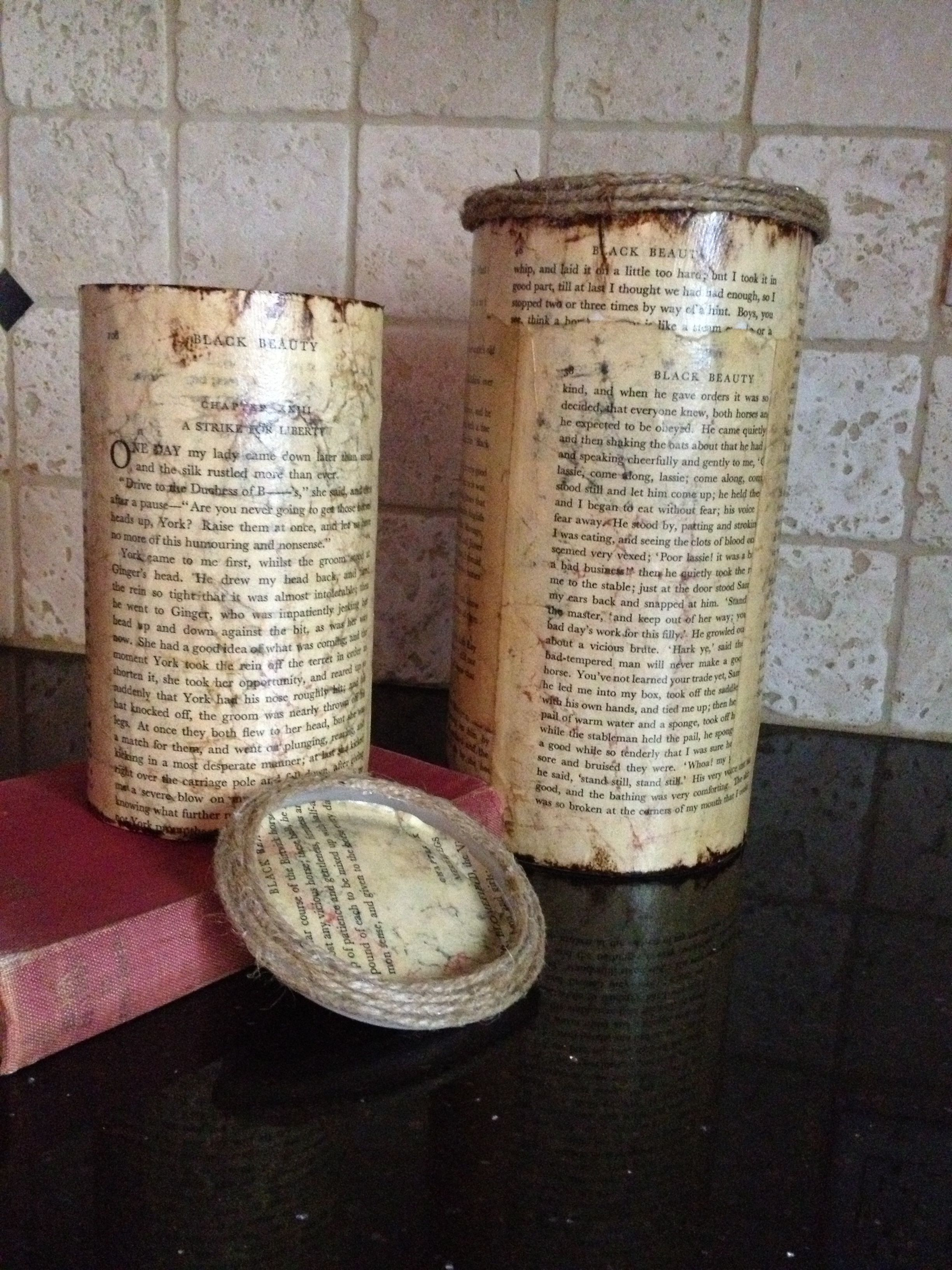 DIY Decorative Storage Containers   Made From Upcycled Oatmeal Cartons And  Pages From An Old Copy Of My Favorite Book!