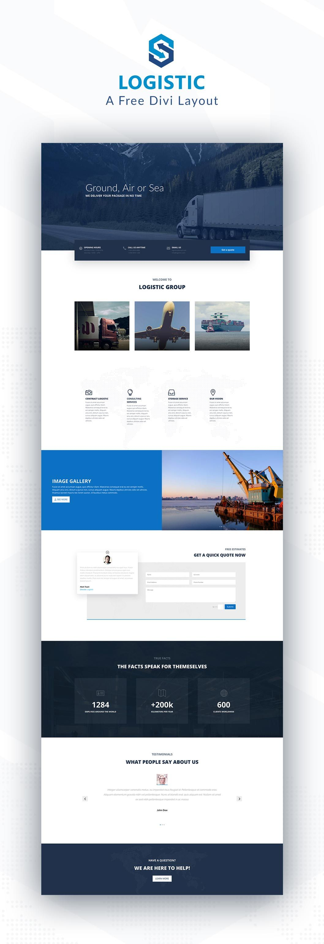 Logistic – A Simple Home Page Layout for Divi
