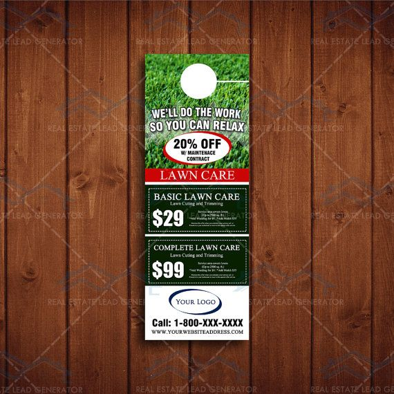 4x 11 Door Hangers For Landscaping Business By The Lawn