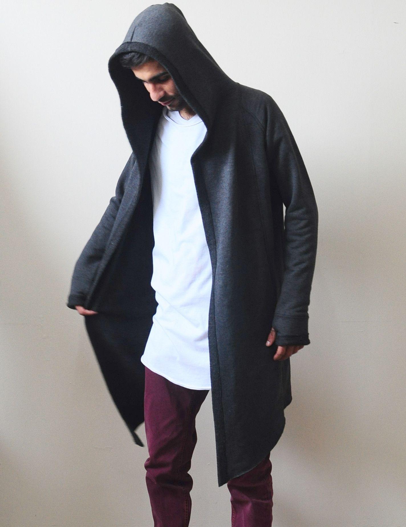 1- Smoke Long Sweater Cardigan With Hood / Glove Sleeves - Bottom  Drawstring - Seam