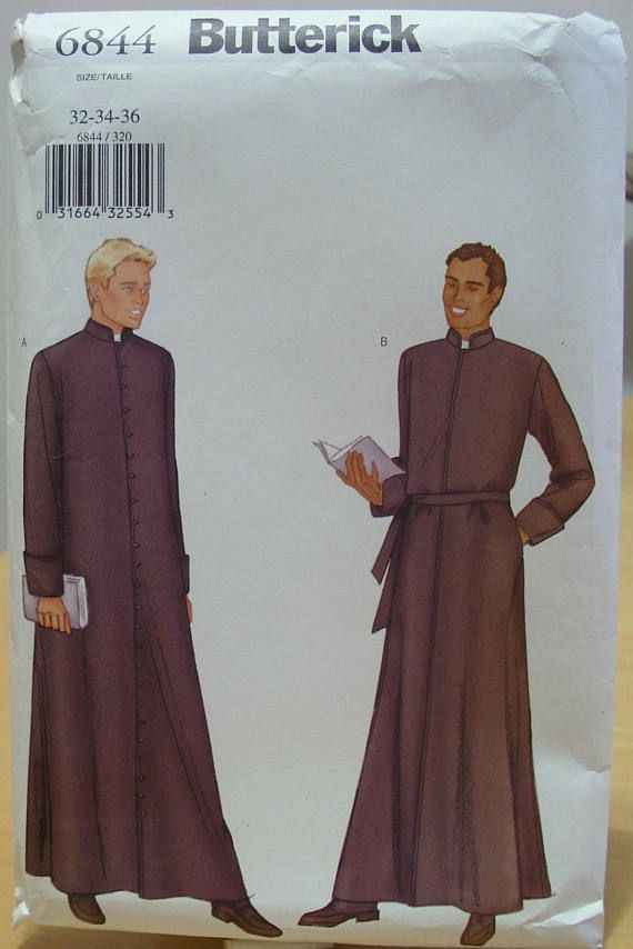 Butterick 6844 Mens Full Length Lined Clergy Robe Sewing Pattern 32