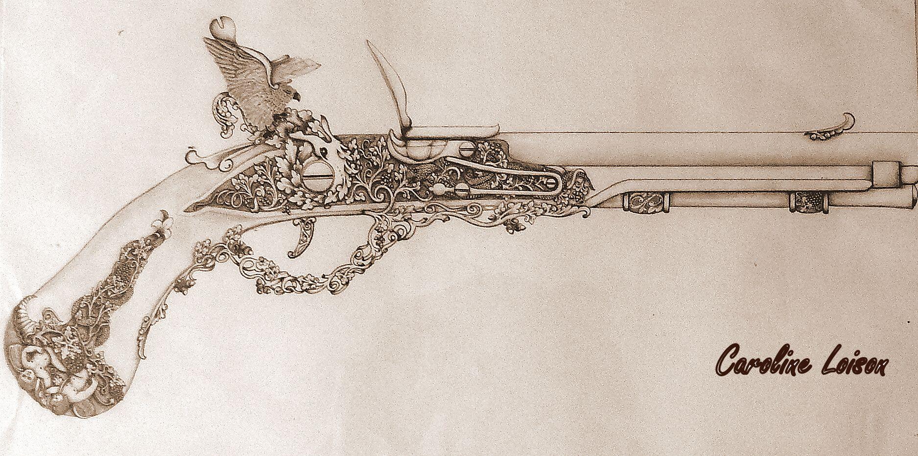 Model De Gravure Et Ciselure Traditionnel Pour Un Silex De Cavalerie Inspiration 18eme Et 19eme Sciecle Gravure Silex Et Dessin