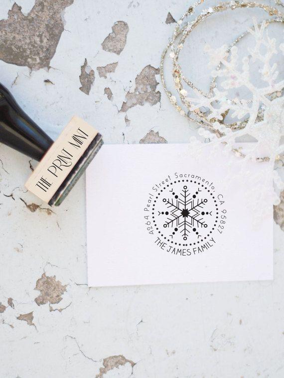 holiday address stamp snowflake