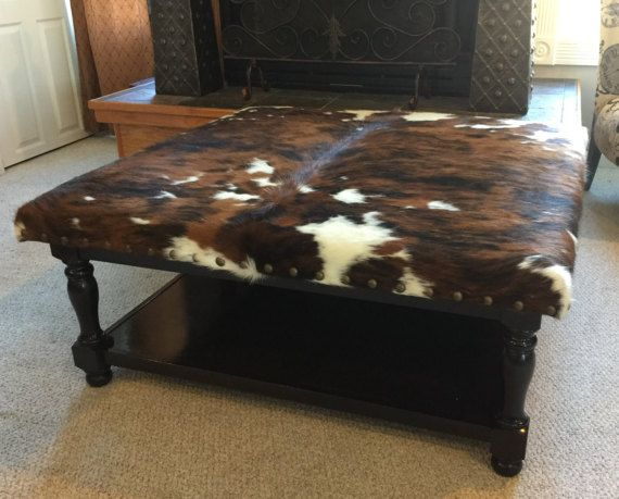 Outstanding Custom Build Cowhide Ottoman Coffee Table Foot Stool Bralicious Painted Fabric Chair Ideas Braliciousco