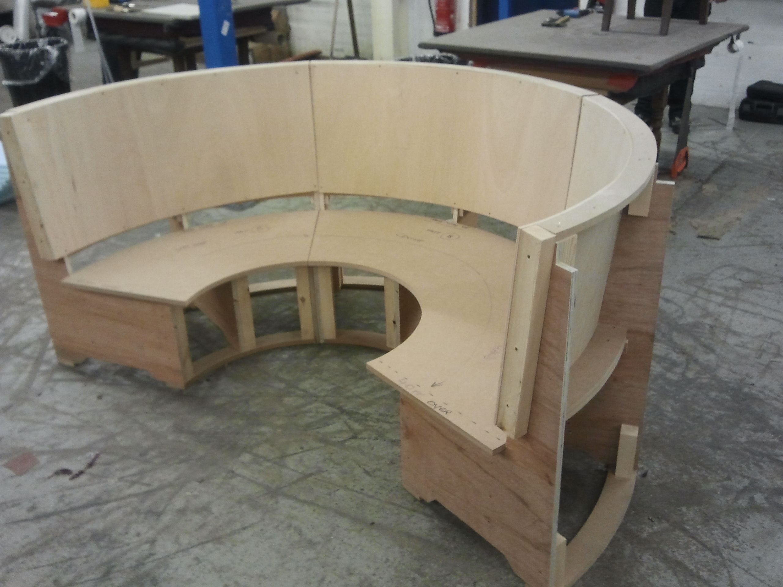 Semi circular seating booth ready for upholstering