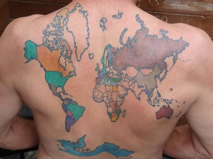 The world map tattoo on backpackers back ideaing creative tattoo the world map gumiabroncs Gallery
