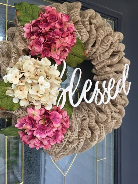 """Photo of Burlap wreath with hydrangeas and """"Blessed"""" sign"""