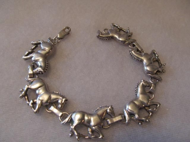 Carol Felley Running HorseLink Chain Sterling Silver Bracelet Designer Signed