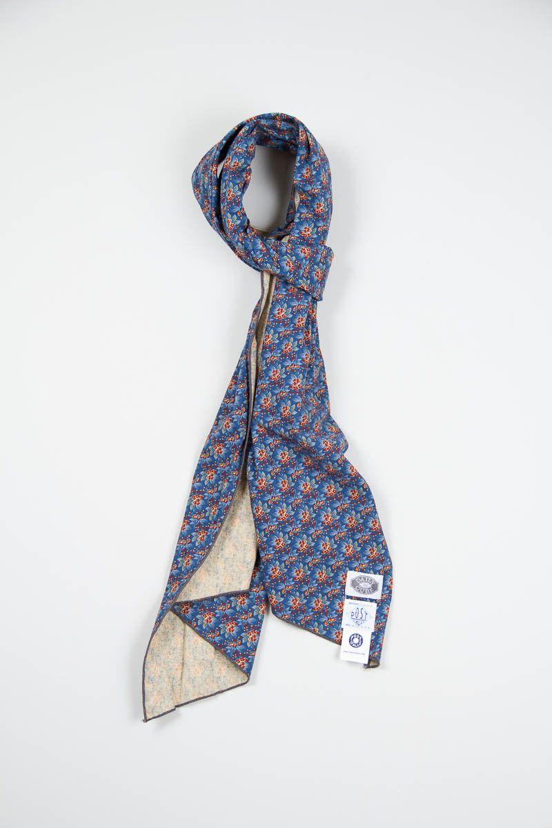 Blue Flower Vintage Calico Print Scarf Post Overalls Mens