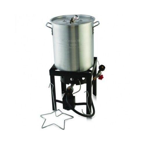 Outdoor Turkey Fryer 30 Quart Propane Cast Iron Gas Burner Lift Rack Thermometer