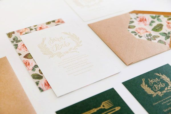 Oh So Beautiful Paper: Sara + Bob's Romantic Floral Wedding Invitations