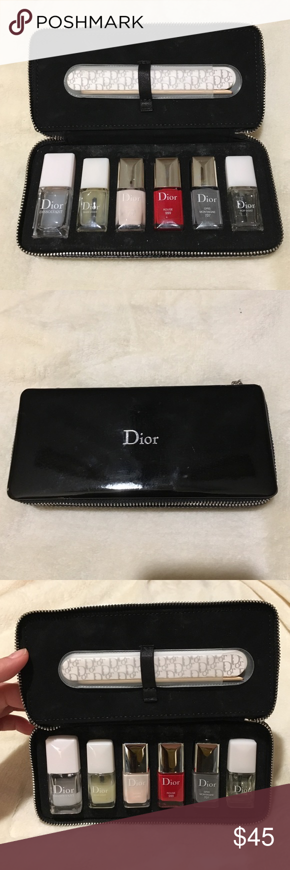 Authentic Christian Dior Nail Polish set Used- Dior nail polish set. Working condition! Base coat and dissolvant is heavy used. 90% left on pink, 90% left on red and top coat is new and grey is 100% new Christian Dior Other