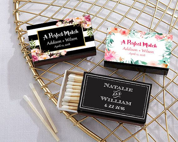Set Of 50 Personalized Matches Custom Chalkboard Wedding Matchbox Favor A Perfect Match