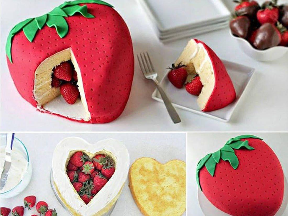 Pi ata cake aux fraises g teaux cakes pinterest g teau anniversaires et les fraises - Gateau surprise facile ...