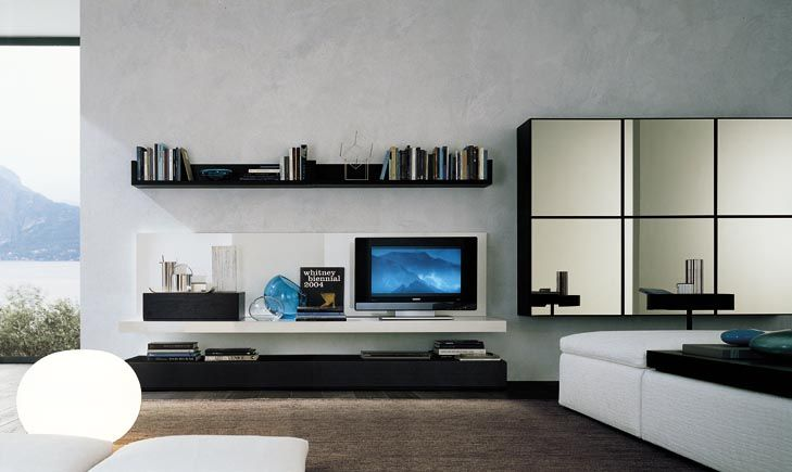 Minimalist Living Room Design Decorating With Modern Tv Wall Cabinet Storage Systems Interior