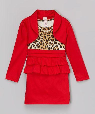 Another great find on #zulily! Red Leopard Dress Set - Toddler & Girls #zulilyfinds