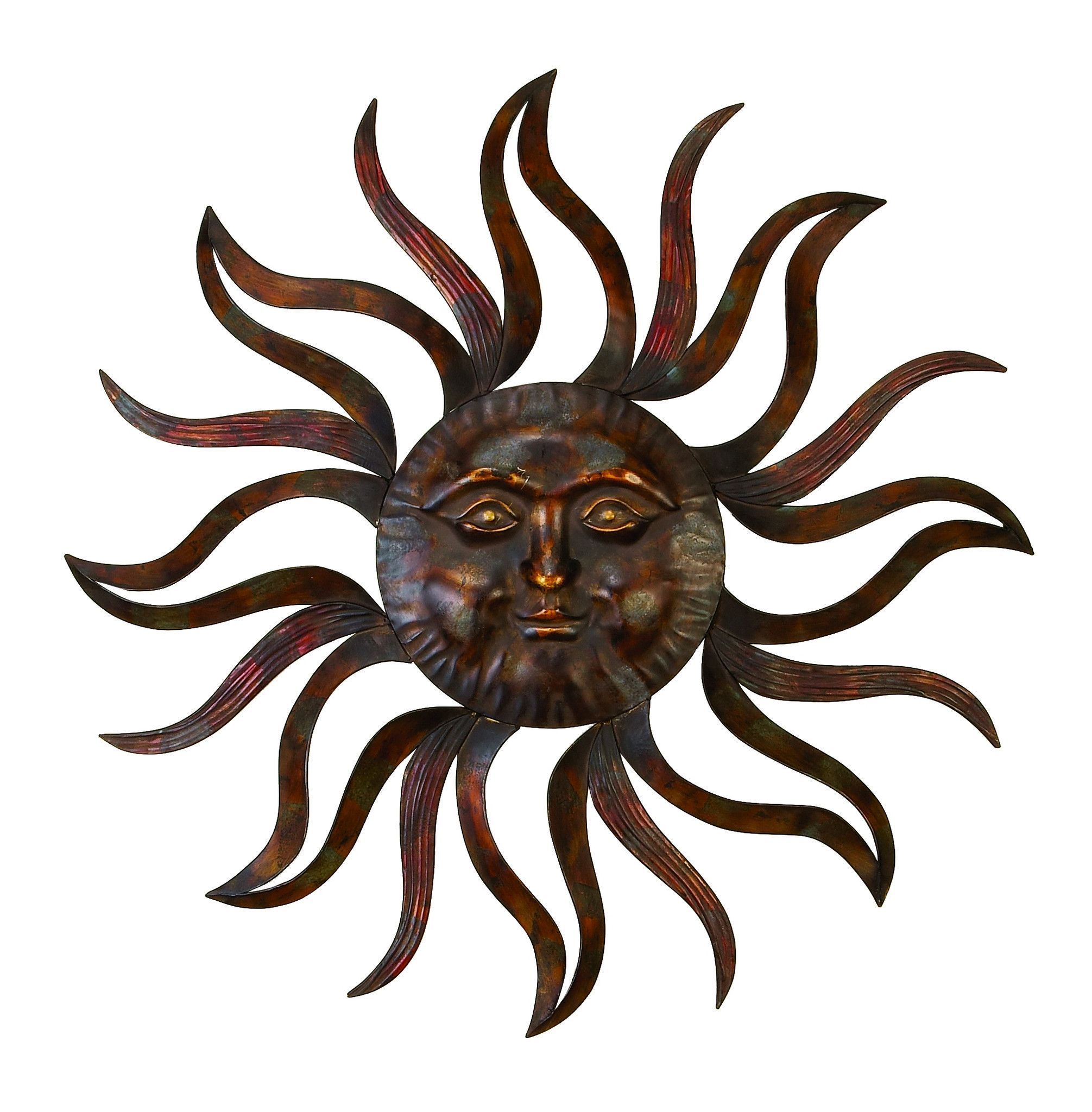 35 large brown metal sun face wall art sculpture mystical decor
