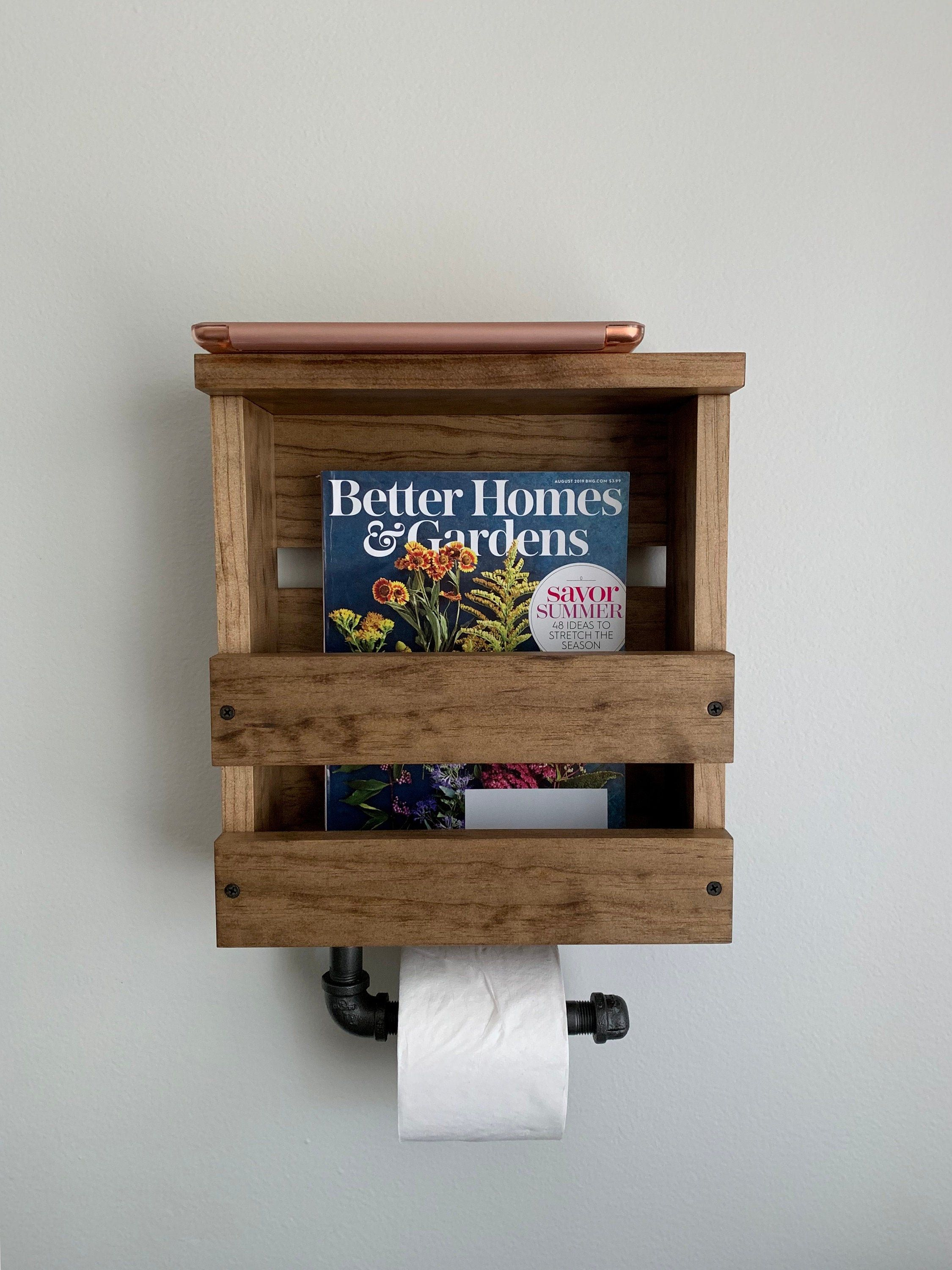 Magazine And Toilet Paper Holder With Shelf Industrial Toilet Etsy In 2021 Toilet Paper Holder Shelf Rustic Toilet Paper Holders Toilet Paper Holder