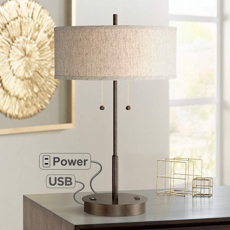Nikola Bronze Metal Pull Chain Table Lamp With Usb Port 8n428 Lamps Plus In 2021 Metal Table Lamps Modern Table Lamp Table Lamp
