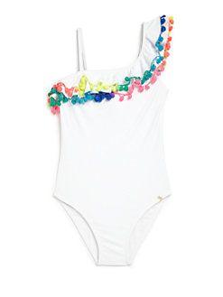 Stella Cove Little Girls Pink Stripe Print Pom-Pom One Piece Swimsuit 2-6