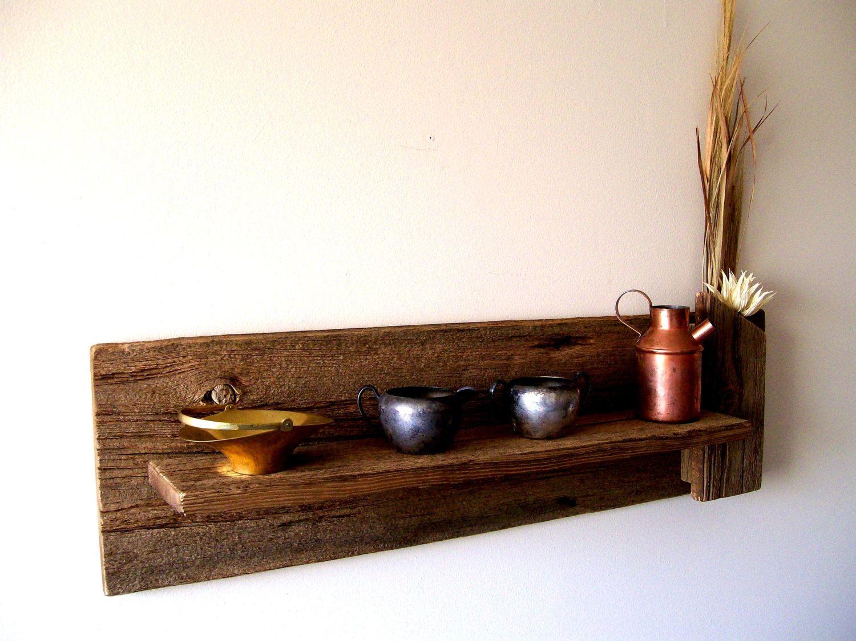 Diy reclaimed wood bathroom shelves edea smith - Rustic Reclaimed Barn Wood Wall Shelf