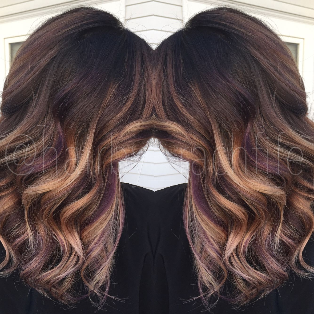 Colormelt Balayage Ombre With Purple Peekaboo Highlights Hair By