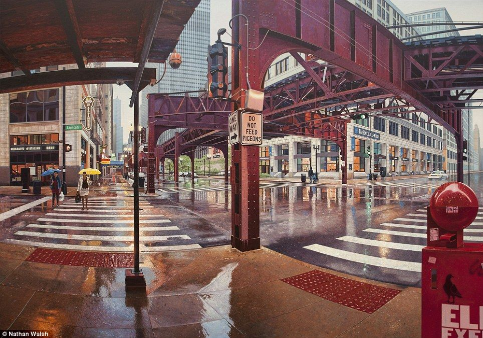 British artist Nathan Walsh has captured the hustle and bustle of the Big Apple and Chicago in a collection of incredibly life-like paintings