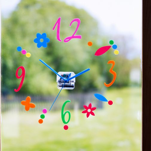 Stick It Window Clock - What a fantastic idea! The numbers, other characters and hands of this brilliant clock can be stuck on windows, tiles, mirrors or even fridges.