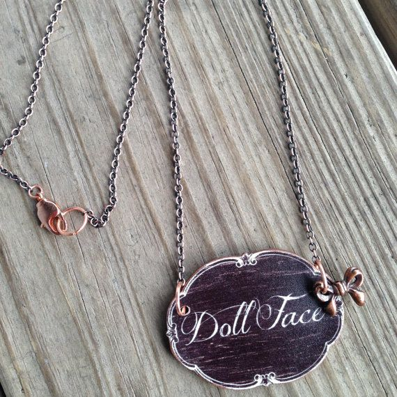Doll Face Sepia Chalkboard Shrink Printed Plastic Bow Charm Necklace #shrinkplastic #shrinkydink #handmade #gift #dollface #necklace #chalkboard #bow #copper #sepia #christmasgift #$14.00