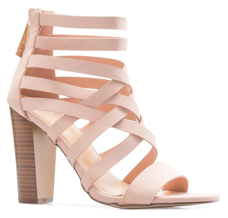 70f7cb59607e7 Amazon.com   OLIVIA K Women's Strappy Woven Block Heel Sandals ...
