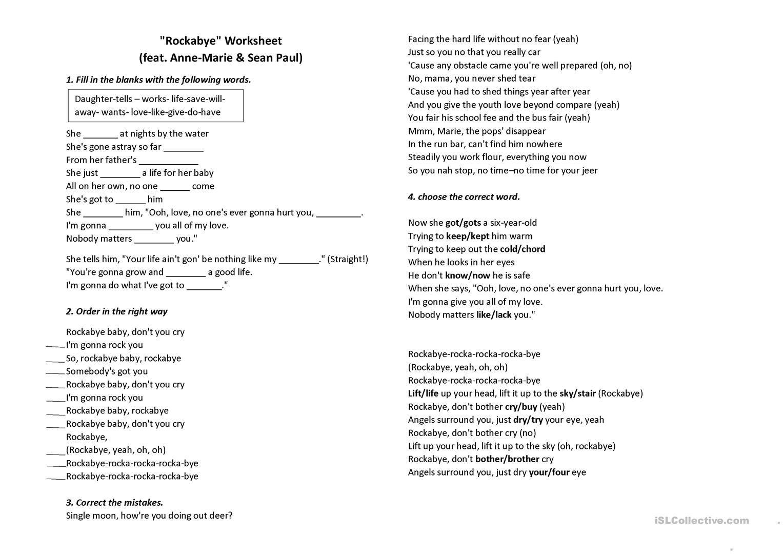 Rockabye Song Worksheet Worksheet
