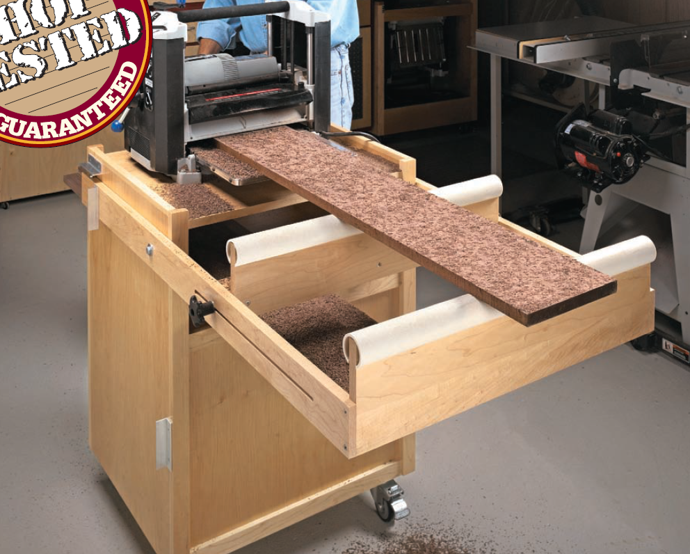 Mobile planer stand woodsmith shop tools jigs for Woodworking cart