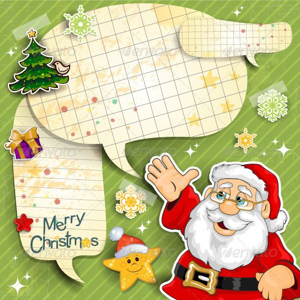 Santa Claus Cartoon With Paper Cute Backgrounds Christmas Planner Christmas Design