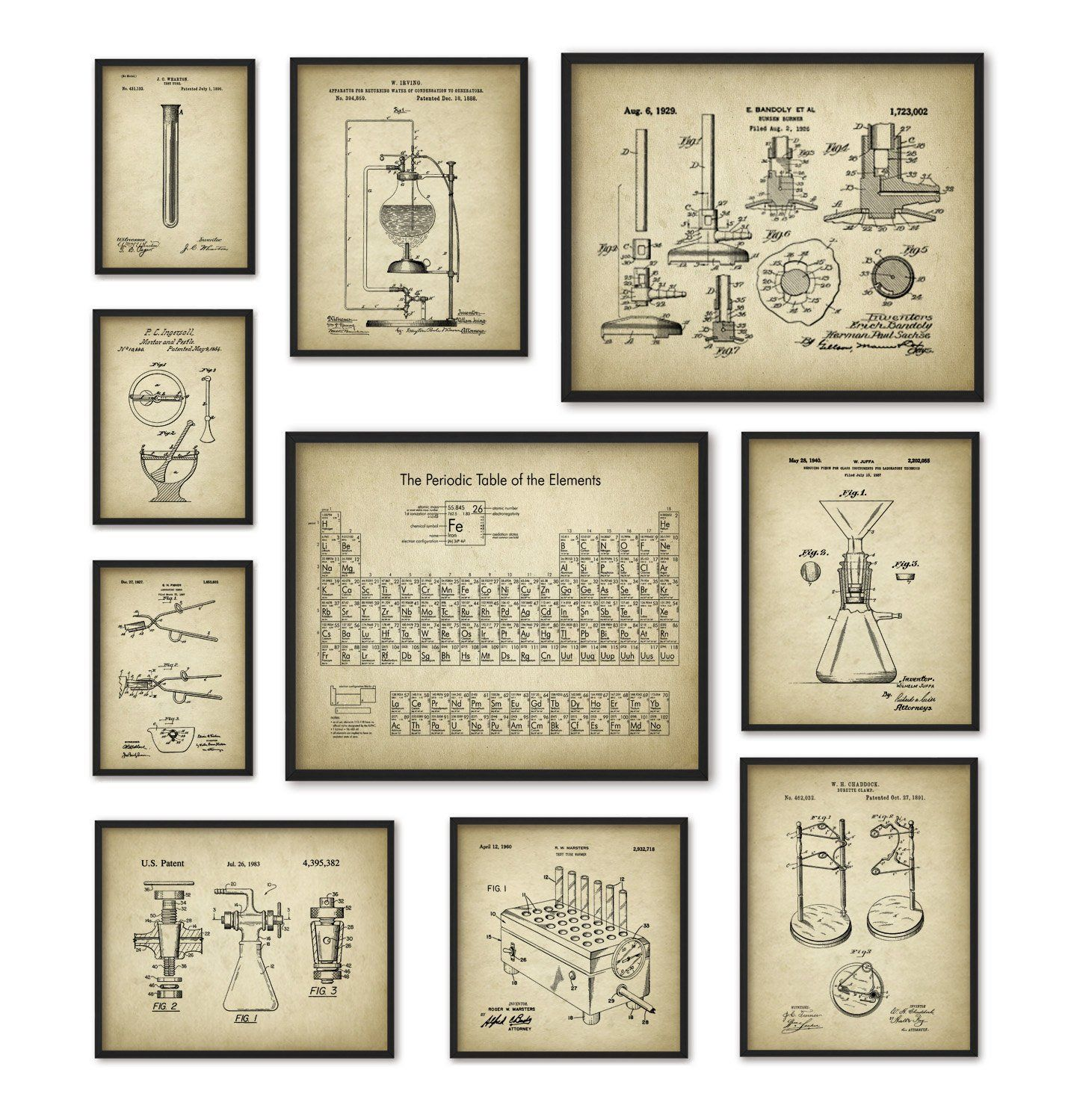 Chemistry Art Print Set Of 10 Periodic Table Of Elements