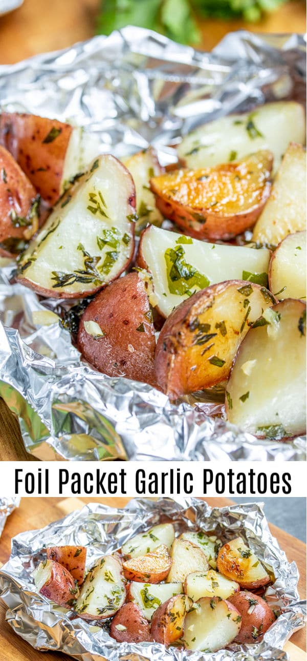 These easy Foil Packet Garlic Potatoes are cooked on the grill or in the oven with lots garlic and herbs for a perfectly tender roasted potatoes recipe packed with flavor. Make them as a side with your grilled steak or serve them along with roasted chicken for an easy grilled side dish. #homemadeinterest #potatoes #garlic #grilled #foilpacket #chickensidedishes