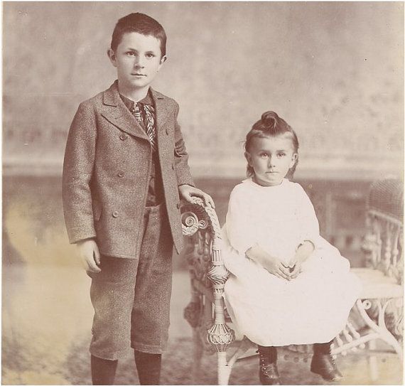 Great  ANTIQUE CABINET PHOTO of a Cute Big Bro by vintagewarehouse, $3.50
