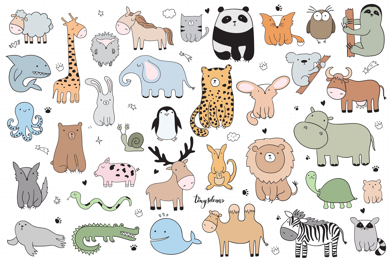 Baby Cute Animals Svg Line Art Svg Zoo Clipart Woodland Etsy In 2021 Minimalist Animal Kawaii Animals Cute Kawaii Animals