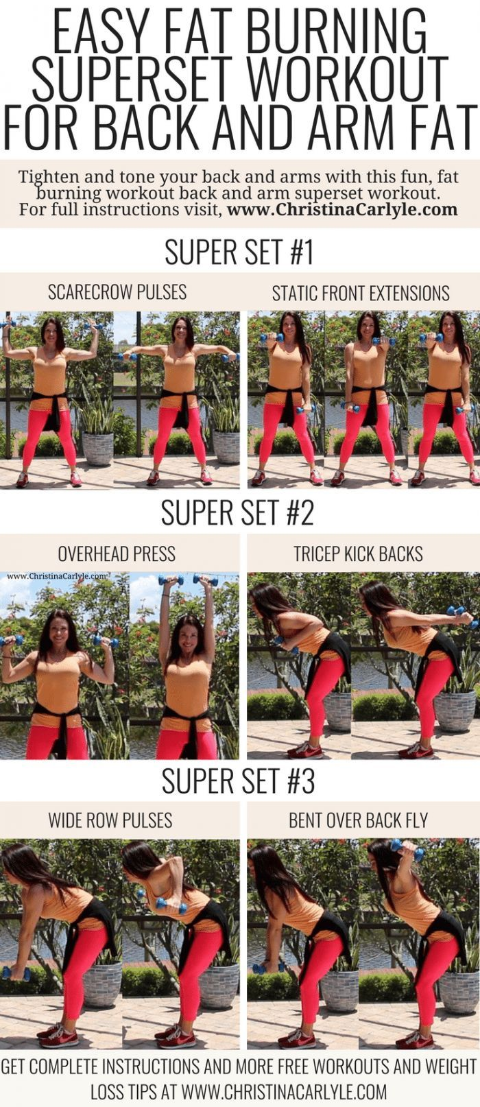 Arm and Back Fat Burning Superset Workout for Women