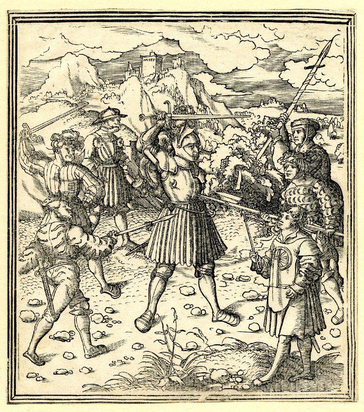 Artist: Beck, Leonhard, Title: Theuerdank fighting several attackers, Date: ca. 1517