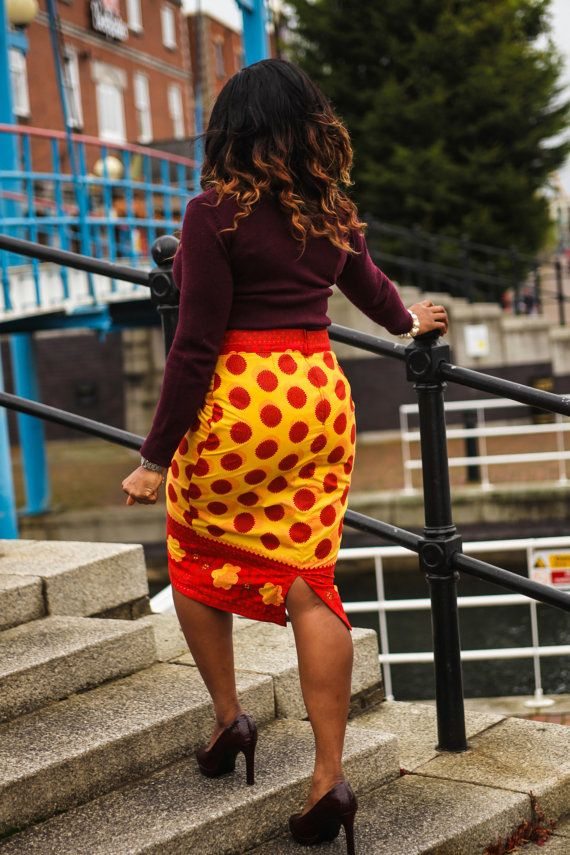 Ankara Pencil Skirt, African print pencil skirt, pencil skirt. A very Flattering African print pencil skirt, handmade in the UK, skirt can be dressed up or down, can be worn in summer or winter (affiliate)