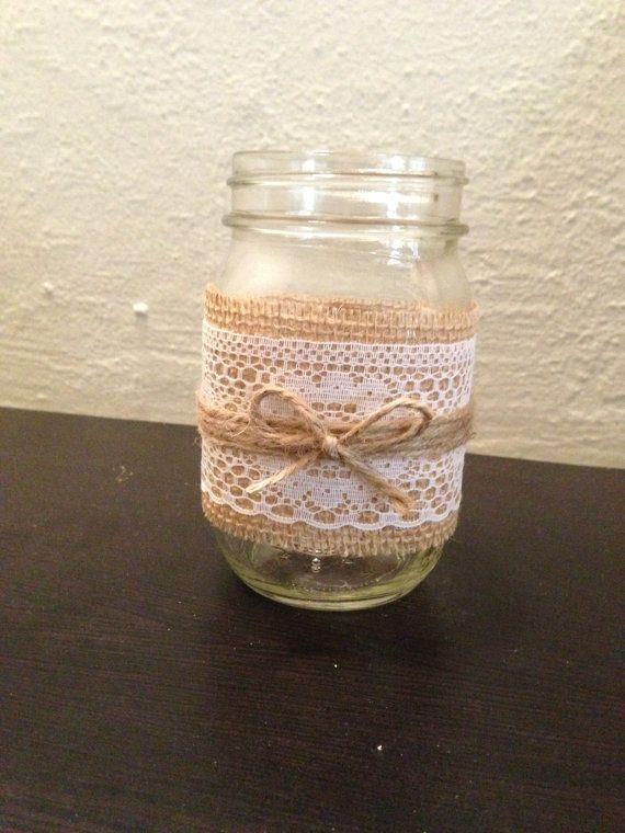 Burlap, lace, and twine mason jar candle holder or vase. Rustic wedding  decor