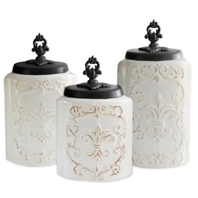 Buy American Atelier Antique 3 Piece Canister Set In White From Bed