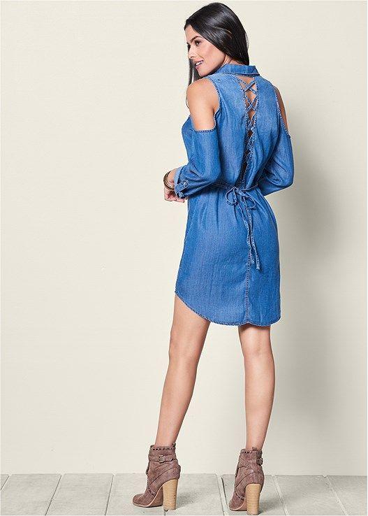 6872253ecc Lace up denim dress